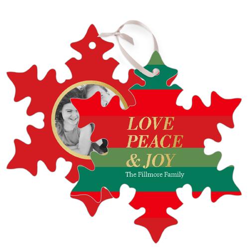Love Peace Joy Stripes Metal Ornament, Red, Snowflake
