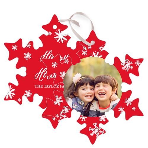 Merry Flurries Metal Ornament, Red, Snowflake