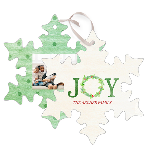 Joy Wreath Snowflake Metal Ornament, Green, Snowflake