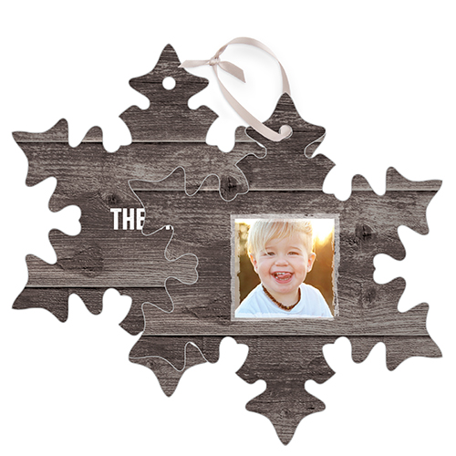 Weathered wood frame metal ornament christmas ornaments