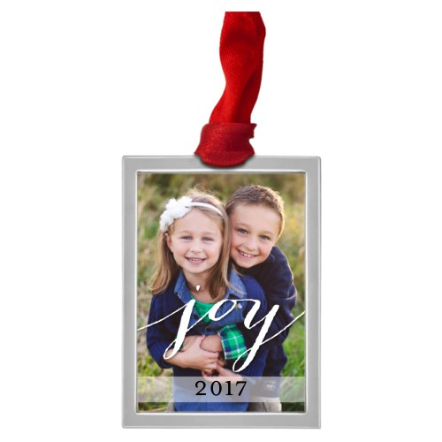 Joy All The Way Pewter Ornament, White, Rectangle