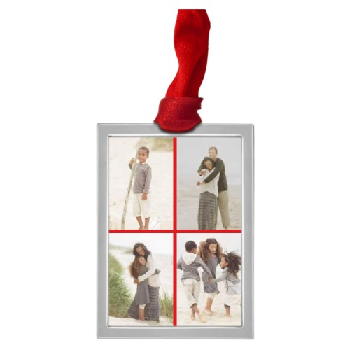 Gallery of Four Vertical Pewter Ornament, White, Rectangle