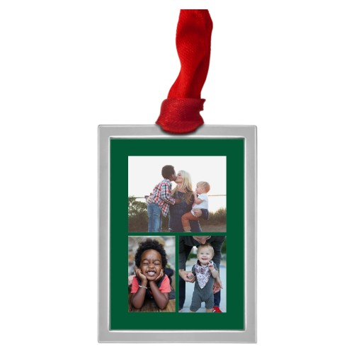 Framed Vertical Gallery of Three Pewter Ornament, White, Rectangle