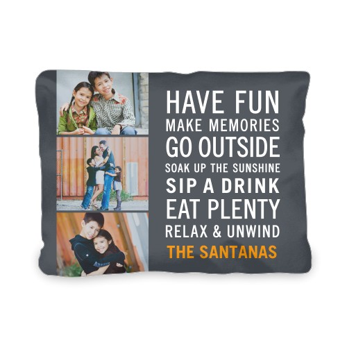 Have Fun Type Outdoor Pillow, Pillow (Ivory), 12 x 16, Single-sided, Grey