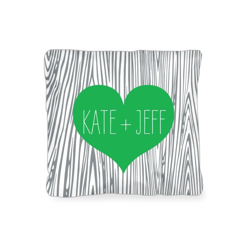 Heart And Woodgrain Outdoor Pillow, Pillow (Navy), 16 x 16, Single-sided, Green