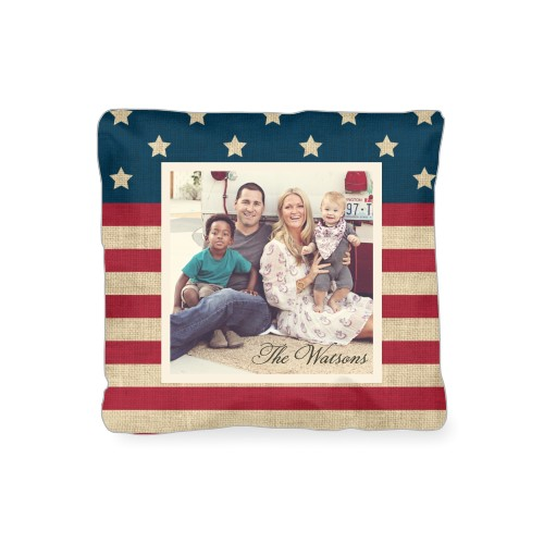 Rustic Flag Outdoor Pillow, Pillow (Navy), 16 x 16, Single-sided, Red