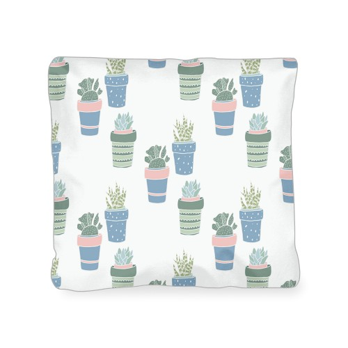 Multi Succulent Outdoor Pillow, Pillow (Ivory), 18 x 18, Single-sided, Multicolor