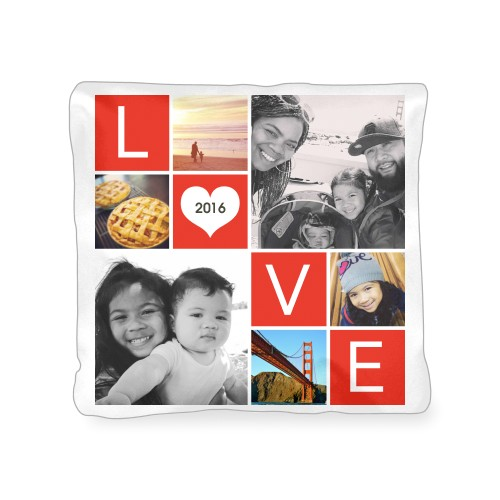 LOVE Collage Outdoor Pillow, Pillow (Navy), 18 x 18, Single-sided, Red