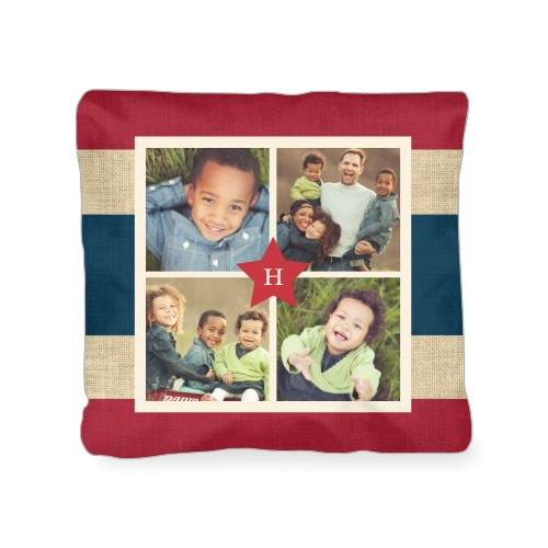 Star Collage Outdoor Pillow, Pillow (Navy), 18 x 18, Single-sided, Red