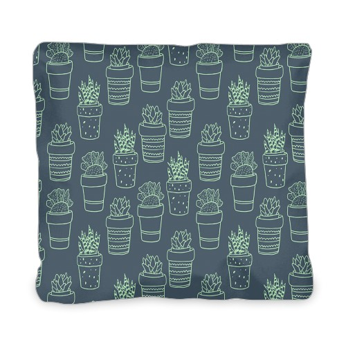 Outline Succulent Outdoor Pillow, Pillow (Taupe), 20 x 20, Single-sided, Multicolor