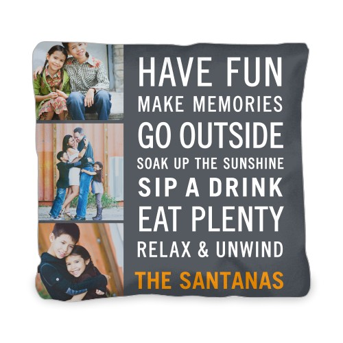 Have Fun Type Outdoor Pillow, Pillow (Navy), 20 x 20, Single-sided, Grey