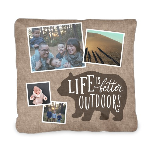 Bear Outdoor Pillow, Pillow (Ivory), 20 x 20, Single-sided, Brown