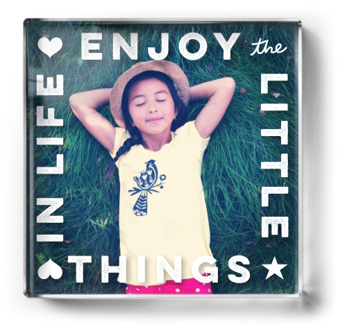 Enjoy Little Things Paper Weight, Square Paper Weight, White