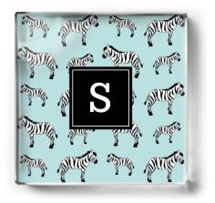 zebra monogram paper weight