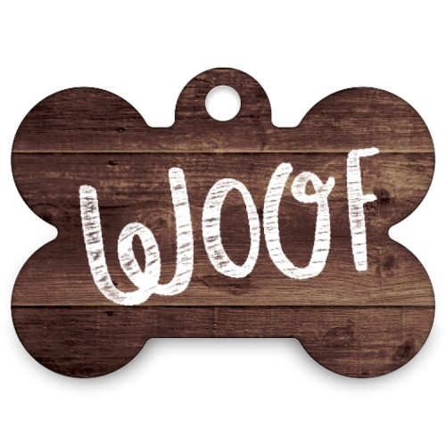 Weathered Wood Dog Bone Bone Pet Tag, Brown