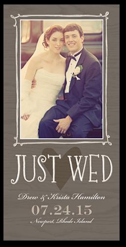 Just Wed Woodgrain Wedding Announcement