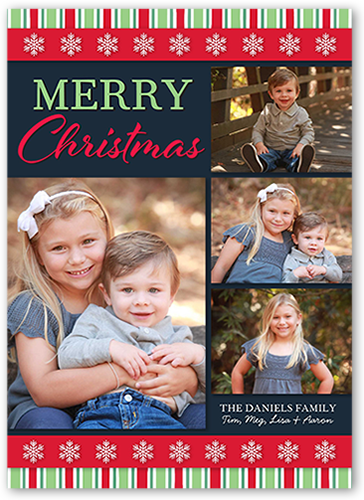Basic Striped Border Christmas Card