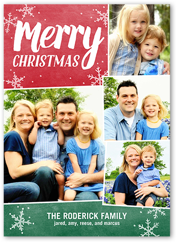 Merry Basic Collage Christmas Card, Square Corners
