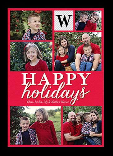 Basic Festive Monogram Holiday Card