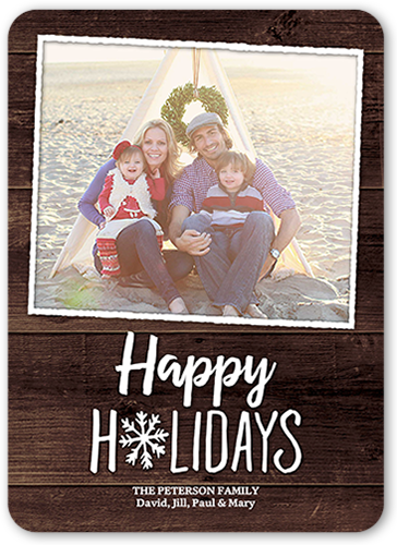 Single Snowflake Holiday Card, Rounded Corners