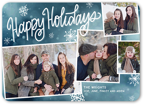 Enchanting Collage Holiday Card, Rounded Corners