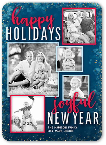 Happy Joyous Sentiment Holiday Card, Rounded Corners