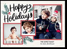 brightly framed holiday card