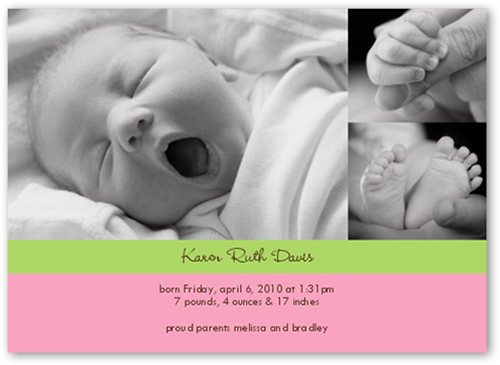Classy Collage Green Birth Announcement