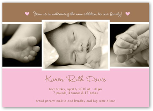 New Addition 5x7 Photo Baby Girl Birth Announcements – Announce Birth of Baby Girl