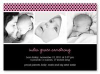licorice dot pink birth announcement 5x7 photo