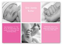 checkers rose birth announcement 5x7 photo