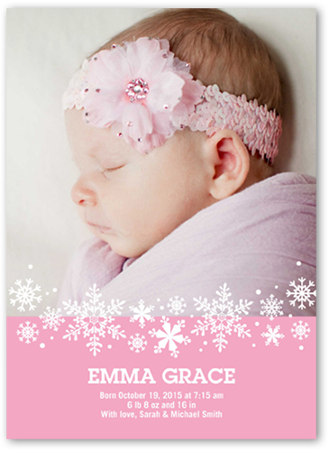 Sweet Flurries Girl Birth Announcement, Square Corners