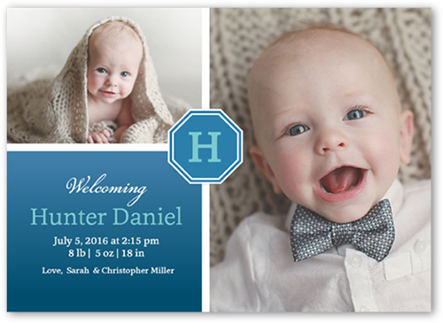 Monogram Hues Boy Birth Announcement, Square Corners