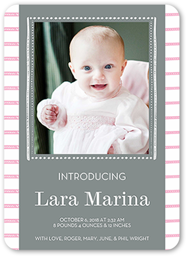 Striped Newborn Girl Birth Announcement