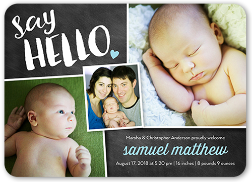 Chalkboard Hello Boy Birth Announcement