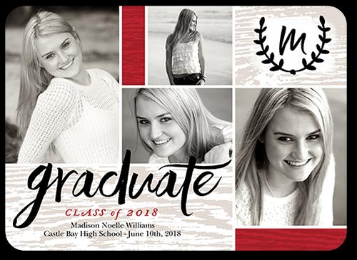 Graduate Monogram Graduation Card, Rounded Corners