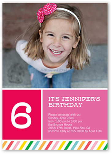 Rainbow Striped Girl Birthday Invitation, Square Corners