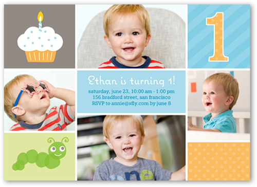 One Is Fun Boy Birthday Invitation, Square