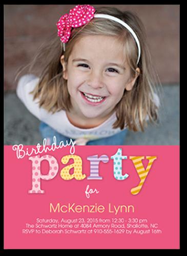 Pattern Party Birthday Invitation, Square Corners