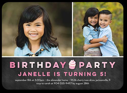 Cupcake Party Girl Birthday Invitation, Square