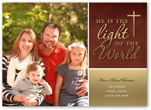 Light Of The World Religious Christmas Card, Square