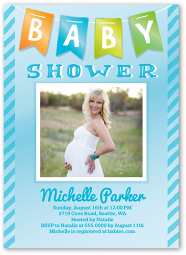 baby banner boy baby shower invitation square corners