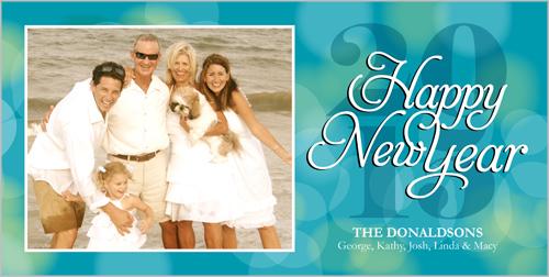 Bright Bokeh Bubbles New Year's Card