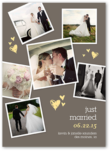 Sweet Heart Collage Wedding Announcement, Square Corners