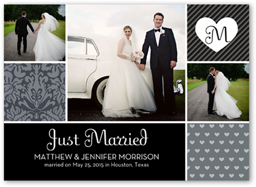 Patterned Initial Wedding Announcement