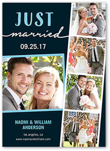 Just Married Filmstrip Wedding Announcement, Square Corners
