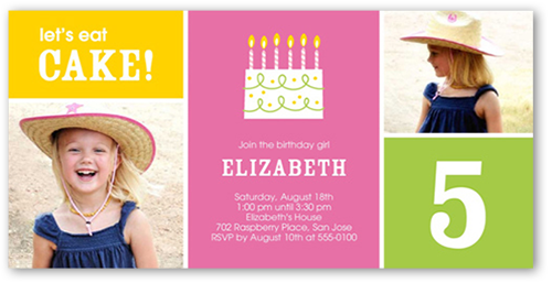 Eat Cake Birthday Invitation, Square Corners