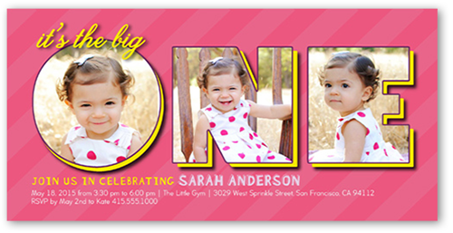 one collage baby girl 1st birthday invitation shutterfly