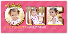 one collage girl birthday invitation 4x8 photo
