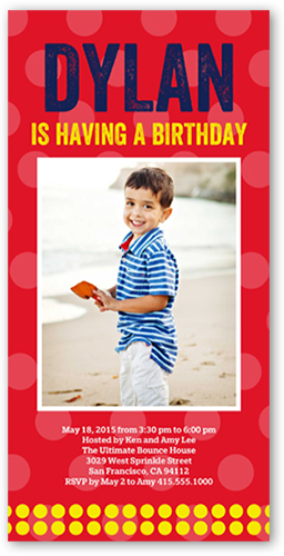 Bright Dots Birthday Invitation, Square Corners